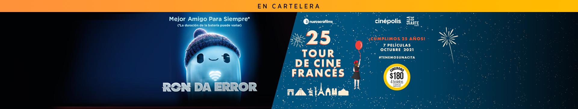 En cartelera Ron Da Error y 15 Tour de Cine Francés
