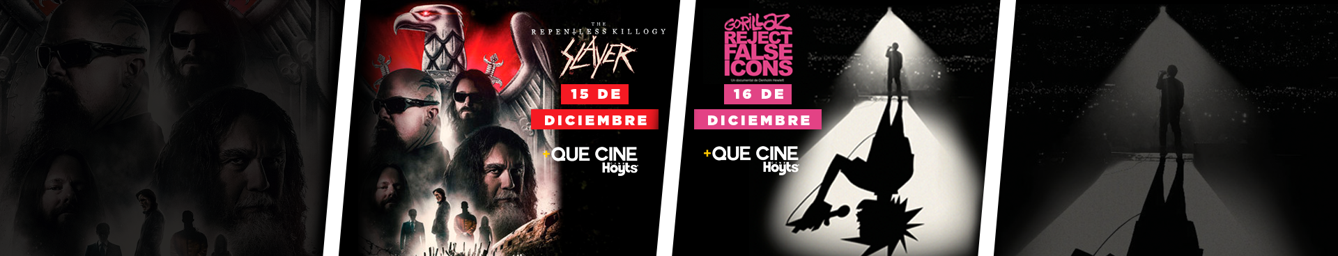 +QUE CINE SLAYER: THE REPLENTLESS KILLOGY, 15 DE DICIEMBRE + GORILLAZ: REJECT FALSE ICONS 16 DE DICIEMBRE
