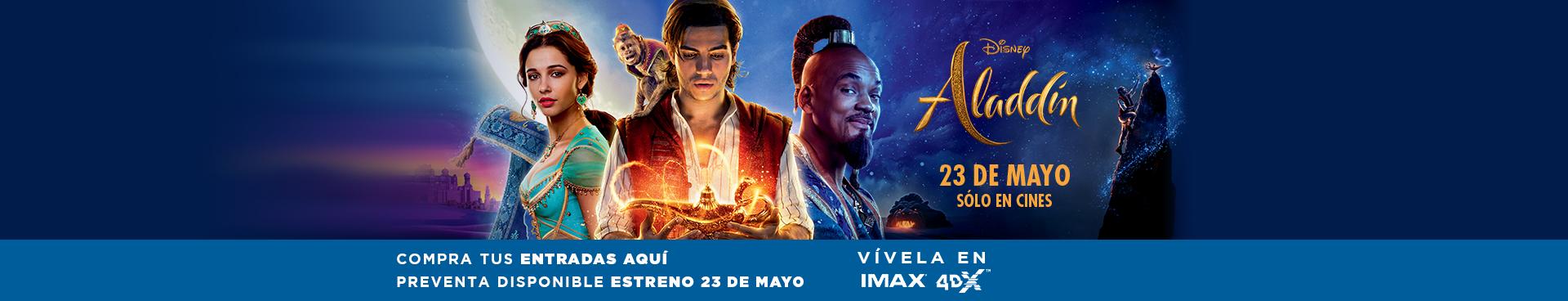 PREVENTA ALADDIN, VIVELA EN IMAX Y 4DX, ESTRENO 23 DE MAYO
