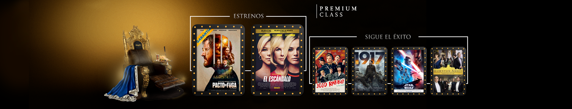 PREMIUM CLASS: PACTO DE FUGA + EL ESCANDALO // SIGUE EL ÉXITO: JOJO RABBIT + 1917  + STAR WARS: EL ASCENSO DE SKYWALKER + DOWNTON ABBEY