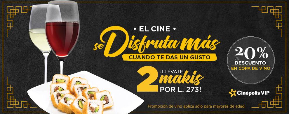 Promocion Makis + vino