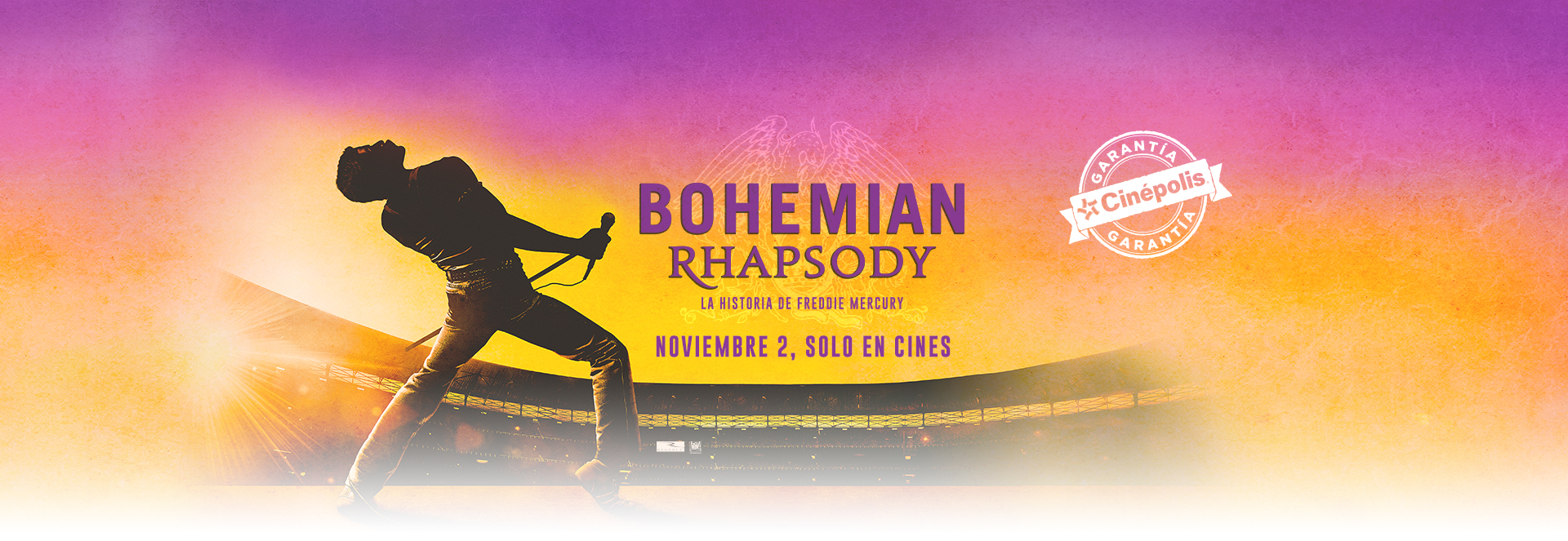 Banner Bohemian Rhapsody, La Historia de Freddie Mercury | Garantía Cinépolis